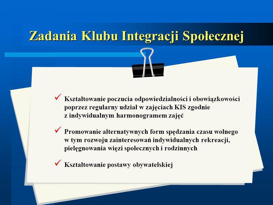 Zadania Klubu Integracji Społecznej Kształtowanie poczucia odpowiedzialności i obowiązkowości poprzez regularny udział w zajęciach KIS zgodnie z indyw