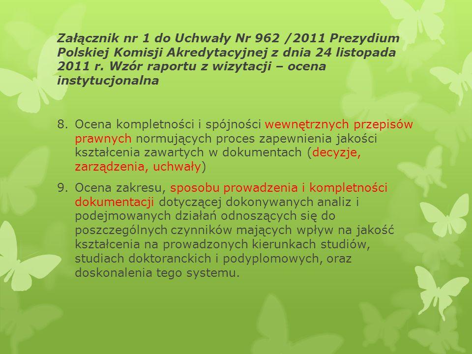 Załącznik nr 1 do Uchwały Nr 962 /2011 Prezydium Polskiej Komisji Akredytacyjnej z dnia 24 listopada 2011 r. Wzór raportu z wizytacji – ocena instytuc
