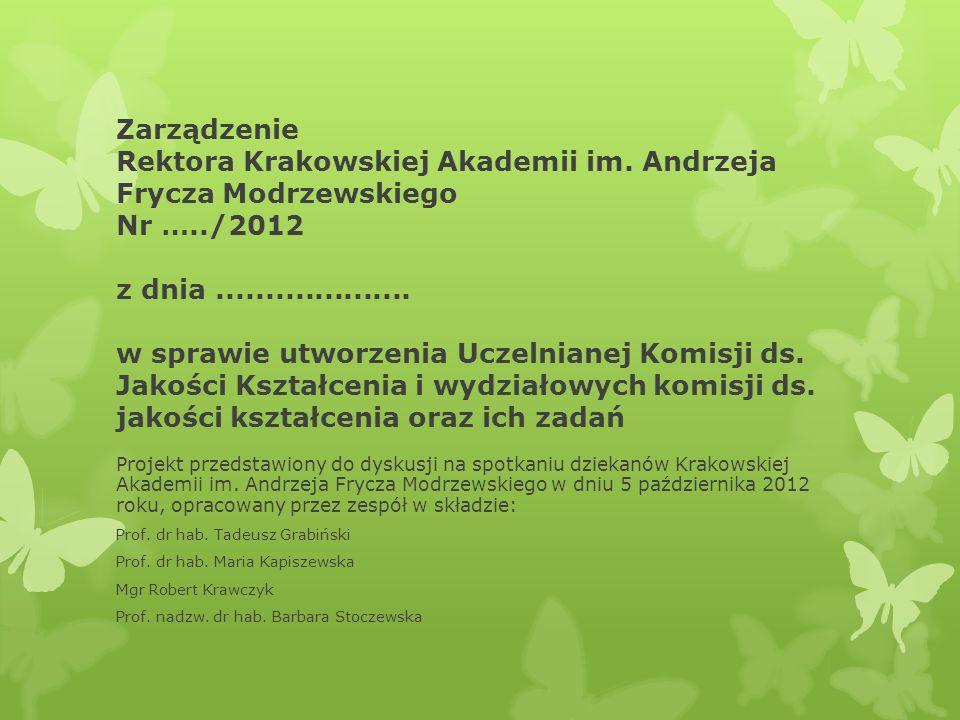 Zarządzenie Rektora Krakowskiej Akademii im. Andrzeja Frycza Modrzewskiego Nr …../2012 z dnia.................... w sprawie utworzenia Uczelnianej Kom