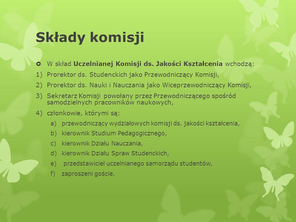Składy komisji W skład Uczelnianej Komisji ds. Jakości Kształcenia wchodzą: 1)Prorektor ds. Studenckich jako Przewodniczący Komisji, 2)Prorektor ds. N
