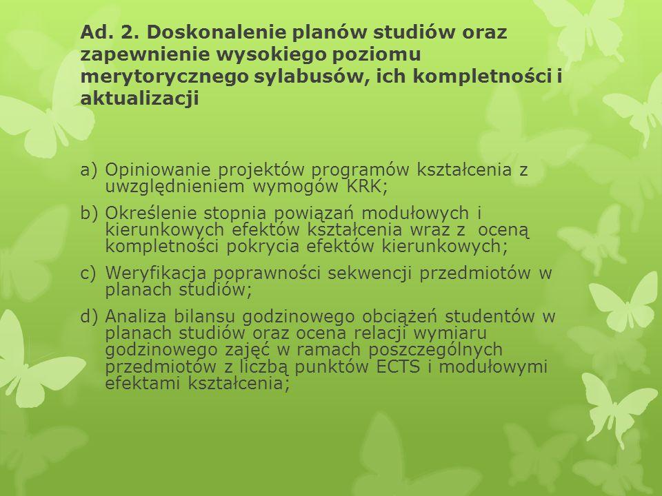 Ad. 2. Doskonalenie planów studiów oraz zapewnienie wysokiego poziomu merytorycznego sylabusów, ich kompletności i aktualizacji a)Opiniowanie projektó