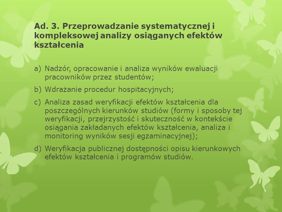 Ad. 3. Przeprowadzanie systematycznej i kompleksowej analizy osiąganych efektów kształcenia a)Nadzór, opracowanie i analiza wyników ewaluacji pracowni