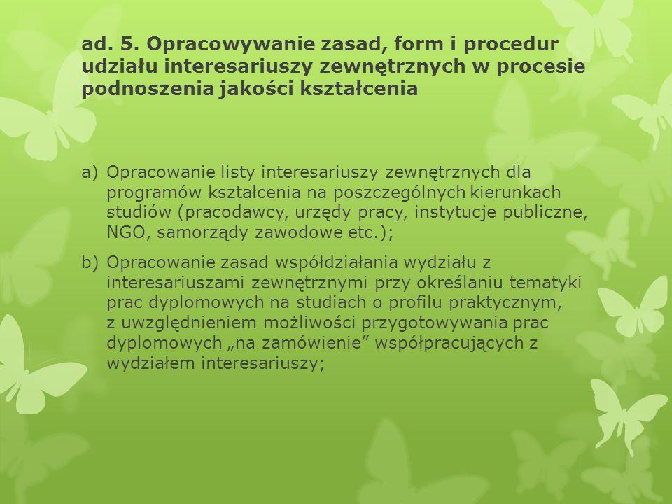 ad. 5. Opracowywanie zasad, form i procedur udziału interesariuszy zewnętrznych w procesie podnoszenia jakości kształcenia a)Opracowanie listy interes