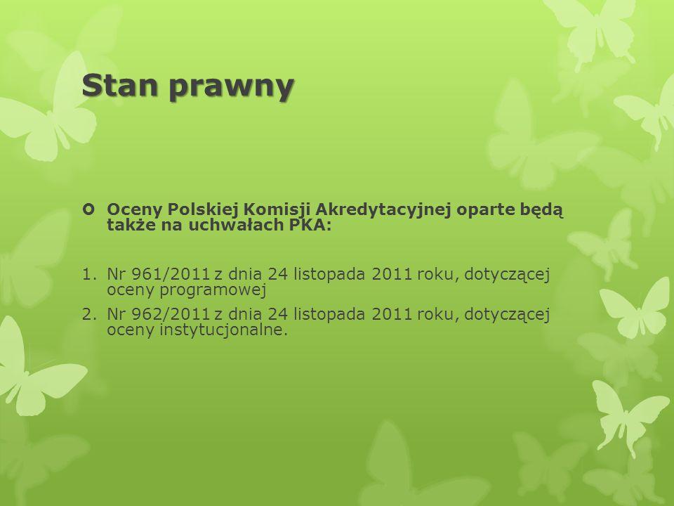 Stan prawny Oceny Polskiej Komisji Akredytacyjnej oparte będą także na uchwałach PKA: 1.Nr 961/2011 z dnia 24 listopada 2011 roku, dotyczącej oceny pr