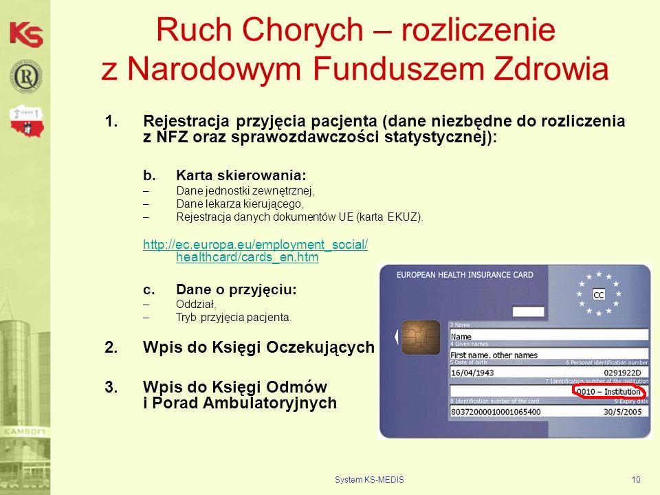 System KS-MEDIS10 Ruch Chorych – rozliczenie z Narodowym Funduszem Zdrowia 1.Rejestracja przyjęcia pacjenta (dane niezbędne do rozliczenia z NFZ oraz