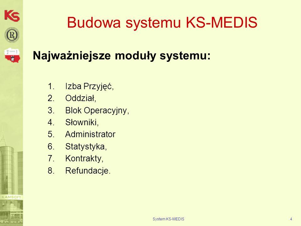 System KS-MEDIS5 Konfiguracja systemu KS-MEDIS Po etapie analizy wdrożeniowej: 1.Wykaz wewnętrznych jednostek organizacyjnych (izby przyjęć, oddziały szpitalne etc.), 2.Pliki umów Jednostki z NFZ (lecznictwo stacjonarne), 3.Opisane ścieżki pacjenta od przyjęcia do wypisu z podziałem na: a.Pacjentów ambulatoryjnych (Szpitalny Oddział Ratunkowy, lub świadczenia ambulatoryjne na Izbie Przyjęć), b.Pacjentów przyjmowanych planowo (dla każdej Izby Przyjęć osobno).