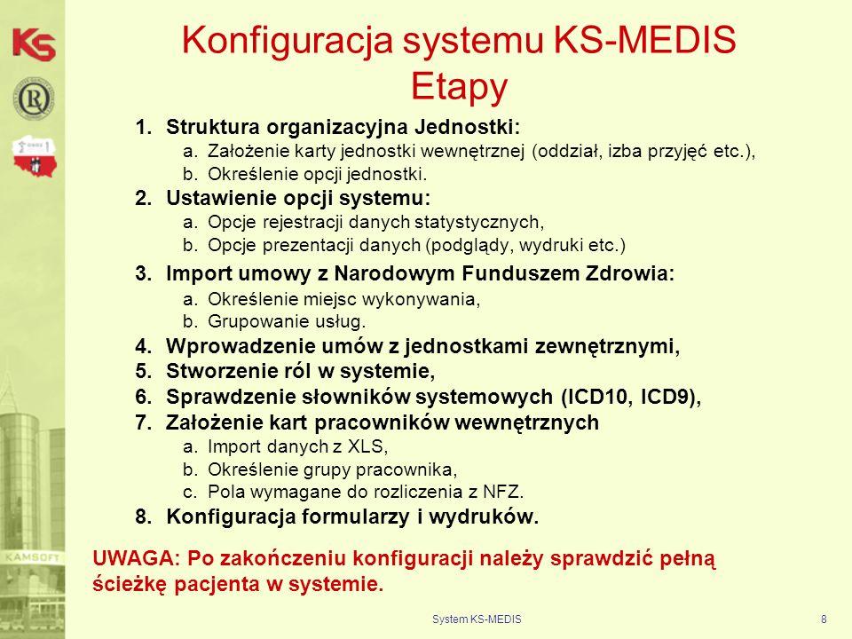 System KS-MEDIS9 Ruch Chorych – rozliczenie z Narodowym Funduszem Zdrowia M O D U Ł I Z B A P R Z Y J Ę Ć 1.Budowa modułu – informacje ogólne, 2.Rejestracja przyjęcia pacjenta (dane niezbędne do rozliczenia z NFZ oraz sprawozdawczości statystycznej): a.Karta pacjenta: Główne dokumenty uprawniające do otrzymywania bezpłatnych świadczeń zdrowotnych: –druk ZUS RMUA wydawany przez pracodawcę, –aktualne zaświadczenie z zakładu pracy, –legitymacja ubezpieczeniowa wraz z aktualnym wpisem i pieczątką –aktualny dowód wpłaty składki na ubezpieczenie zdrowotne –legitymacja emeryta lub rencisty lub aktualny odcinek emerytury lub renty, –aktualne zaświadczenie z Urzędu Pracy dla bezrobotnych, –umowa zawarta w NFZ wraz z aktualnym dowodem opłaty składki, –dowód opłacenia składki zdrowotnej przez osobę, która zgłosiła członków rodziny do ubezpieczenia zdrowotnego, –legitymacja rodzinna z wpisanymi członkami rodziny wraz z aktualną datą i pieczątką płatnika lub ZUS, –aktualne zaświadczenie z zakładu pracy, –legitymacja emeryta lub rencisty z wpisanymi członkami rodziny wraz z aktualnym odcinkiem emerytury lub renty, –w przypadku członków rodziny- dzieci, które ukończyły 18 rok życia (np.