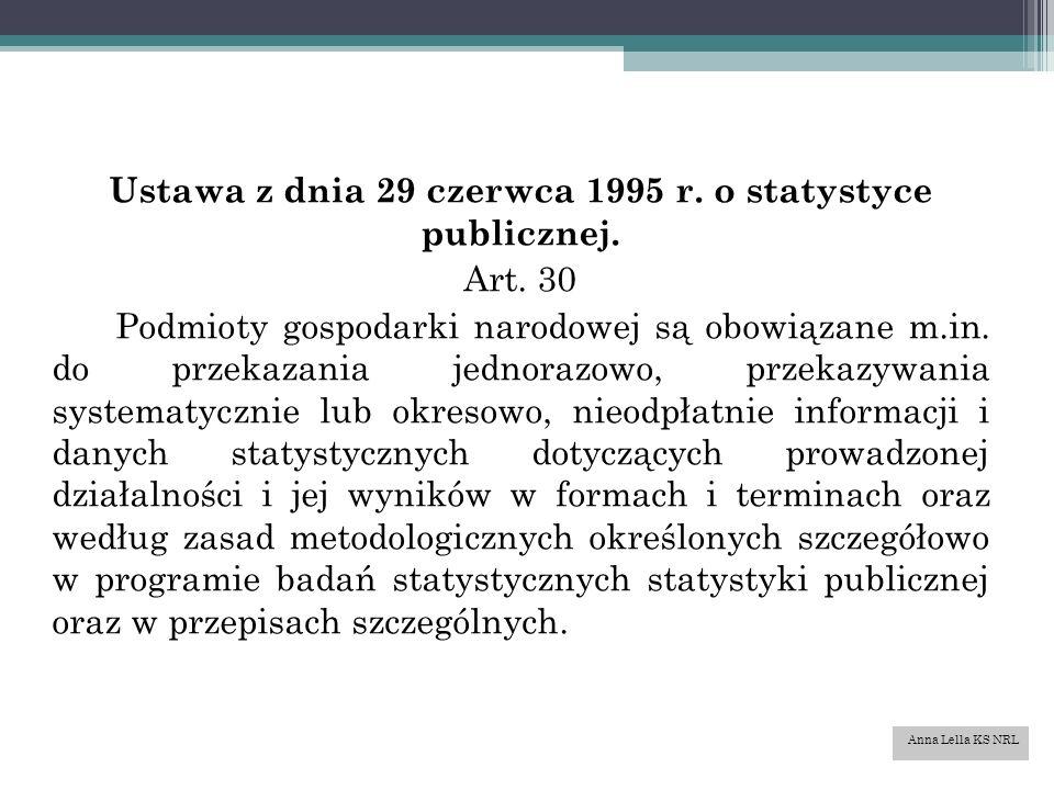 Ustawa z dnia 29 czerwca 1995 r. o statystyce publicznej.