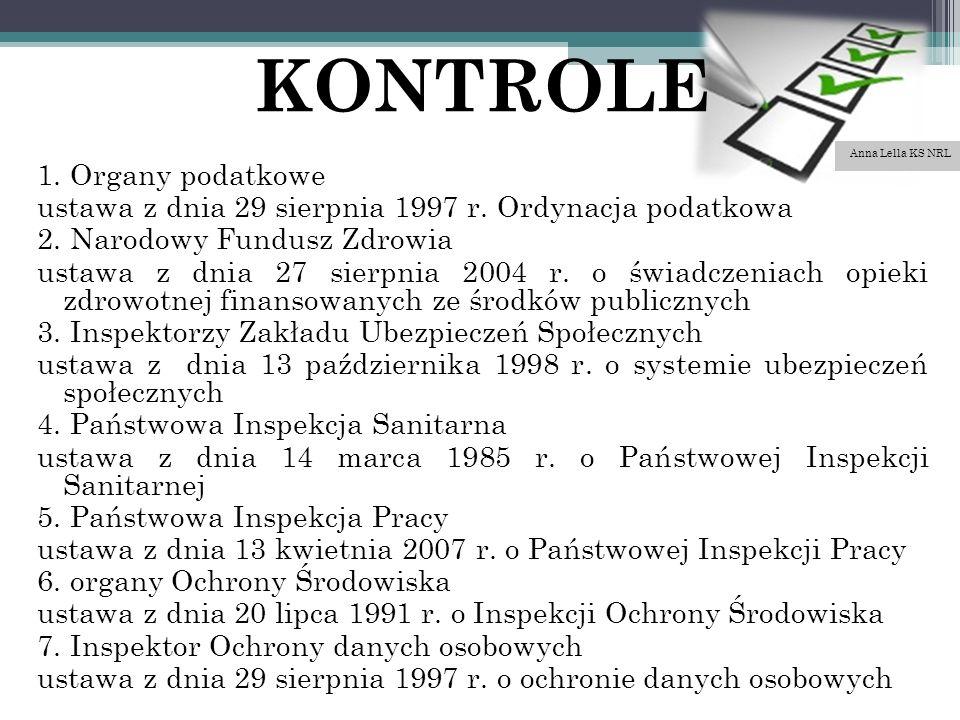 KONTROLE 1. Organy podatkowe ustawa z dnia 29 sierpnia 1997 r.