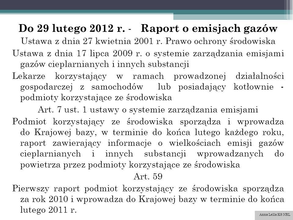 Do 29 lutego 2012 r. - Raport o emisjach gazów Ustawa z dnia 27 kwietnia 2001 r.
