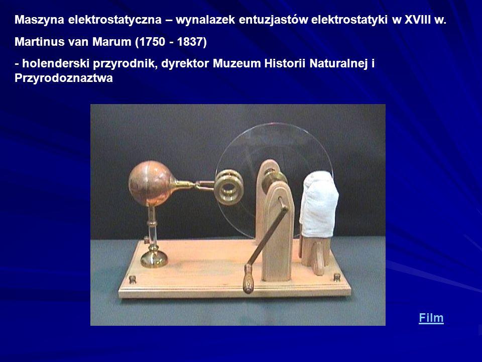 Maszyna elektrostatyczna – wynalazek entuzjastów elektrostatyki w XVIII w. Martinus van Marum (1750 - 1837) - holenderski przyrodnik, dyrektor Muzeum