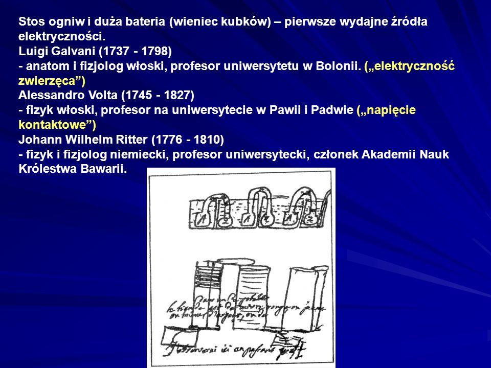 Stos ogniw i duża bateria (wieniec kubków) – pierwsze wydajne źródła elektryczności. Luigi Galvani (1737 - 1798) - anatom i fizjolog włoski, profesor