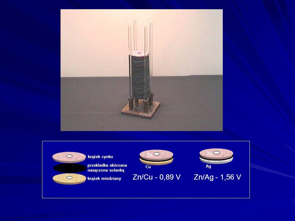 Zn krążek cynku przekładka skórzana nasączona solanką krążek miedziany Cu Ag Zn/Cu - 0,89 V Zn/Ag - 1,56 V