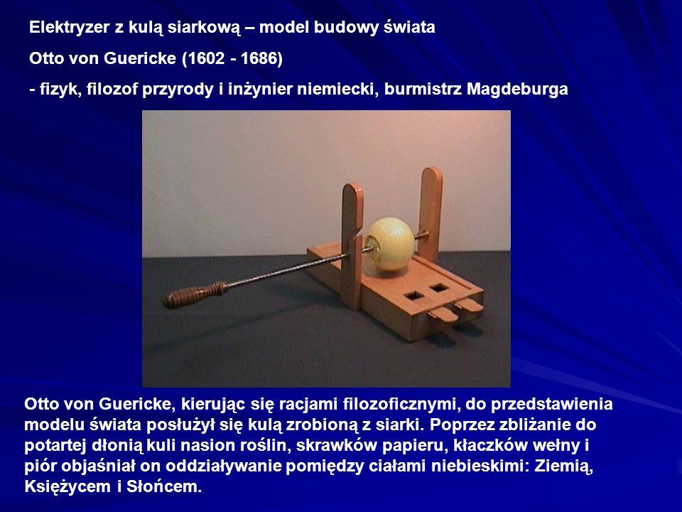 Elektryzer z kulą siarkową – model budowy świata Otto von Guericke (1602 - 1686) - fizyk, filozof przyrody i inżynier niemiecki, burmistrz Magdeburga