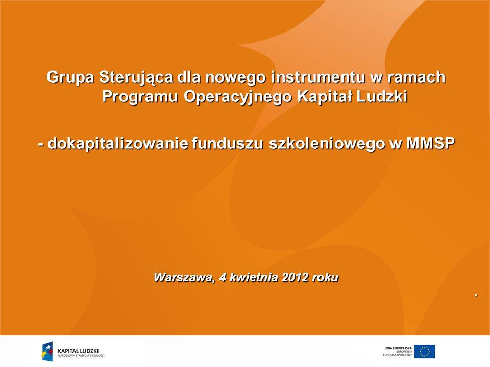 Grupa Sterująca dla nowego instrumentu w ramach Programu Operacyjnego Kapitał Ludzki - dokapitalizowanie funduszu szkoleniowego w MMSP Warszawa, 4 kwi