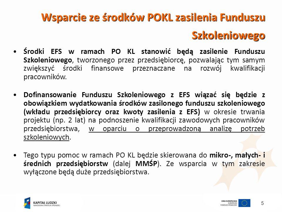5 Wsparcie ze środków POKL zasilenia Funduszu Szkoleniowego Środki EFS w ramach PO KL stanowić będą zasilenie Funduszu Szkoleniowego, tworzonego przez