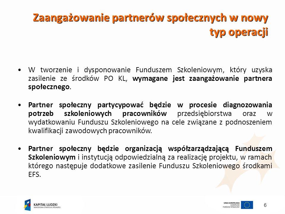 6 Zaangażowanie partnerów społecznych w nowy typ operacji W tworzenie i dysponowanie Funduszem Szkoleniowym, który uzyska zasilenie ze środków PO KL,