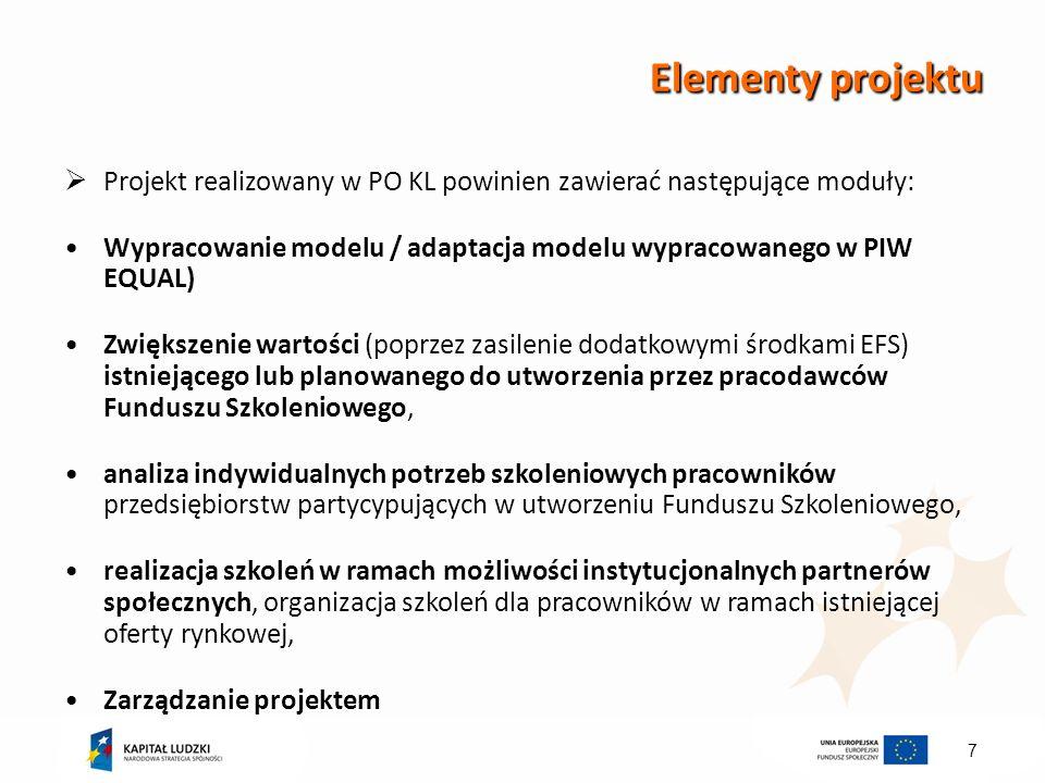 7 Elementy projektu Projekt realizowany w PO KL powinien zawierać następujące moduły: Wypracowanie modelu / adaptacja modelu wypracowanego w PIW EQUAL