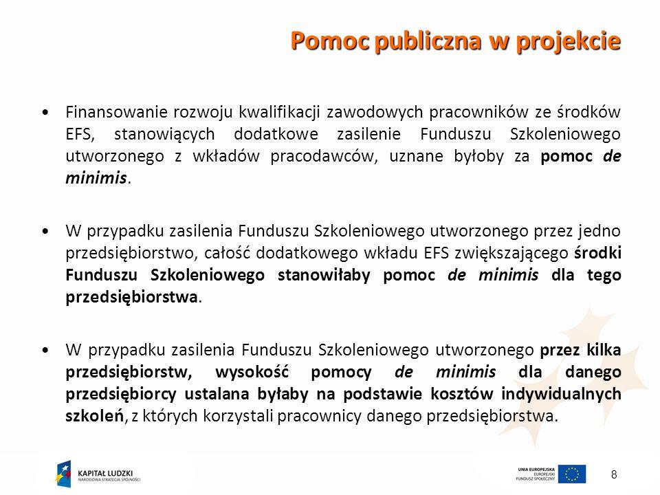 8 Pomoc publiczna w projekcie Finansowanie rozwoju kwalifikacji zawodowych pracowników ze środków EFS, stanowiących dodatkowe zasilenie Funduszu Szkol