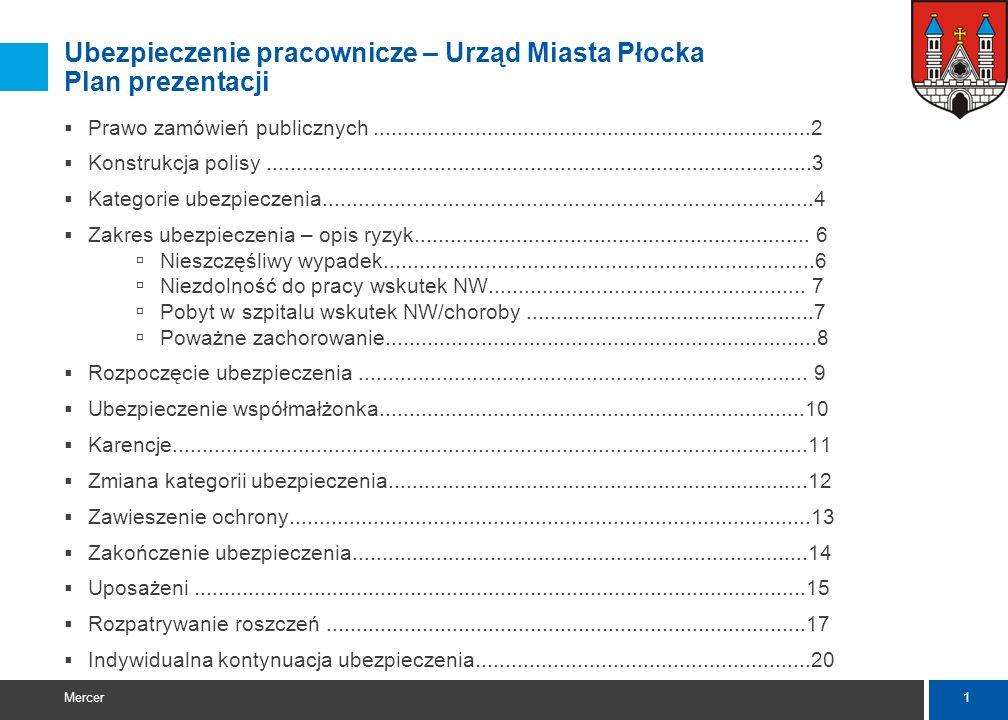 www.mercer.com Ubezpieczenie pracownicze Urząd Miasta Płocka 2009-12-09 Warunki ubezpieczenia: Justyna Kierzniewska Roszczenia:Adrianna Szewełło (+48)