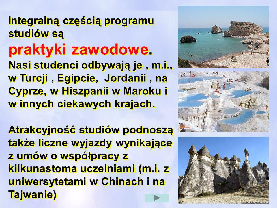 Integralną częścią programu studiów są praktyki zawodowe. Nasi studenci odbywają je, m.i., w Turcji, Egipcie, Jordanii, na Cyprze, w Hiszpanii w Marok