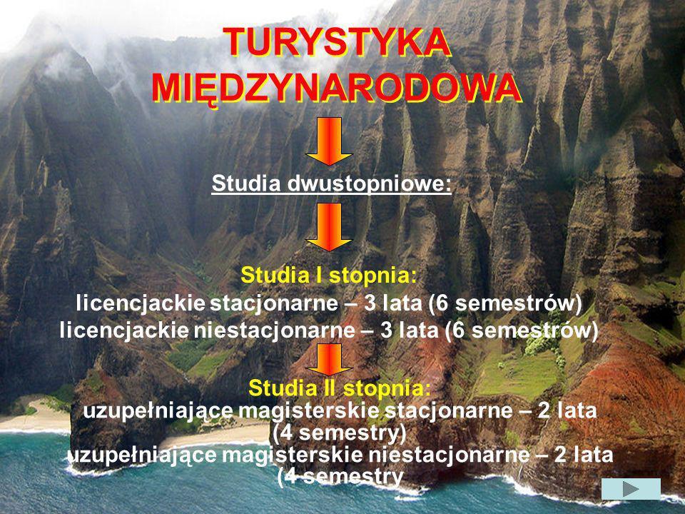 TURYSTYKA MIĘDZYNARODOWA TURYSTYKA MIĘDZYNARODOWA Studia dwustopniowe: Studia I stopnia: licencjackie stacjonarne – 3 lata (6 semestrów) licencjackie