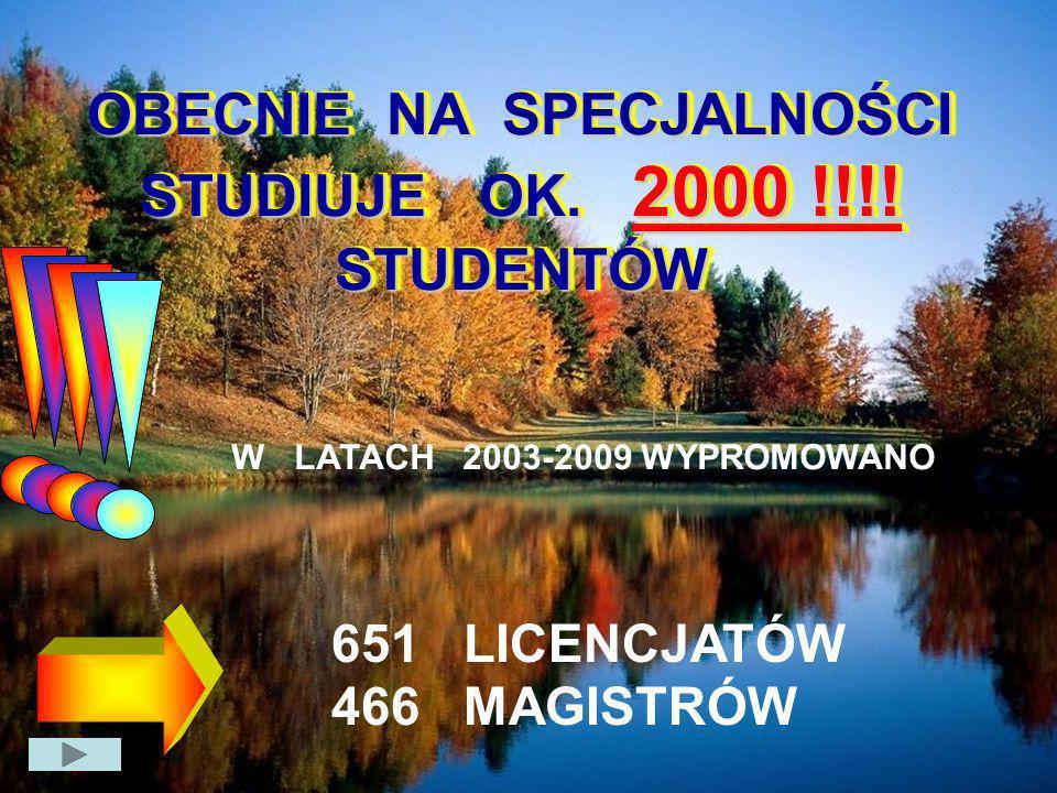 OBECNIE NA SPECJALNOŚCI STUDIUJE OK. 2000 !!!! STUDENTÓW 651 LICENCJATÓW 466 MAGISTRÓW W LATACH 2003-2009 WYPROMOWANO