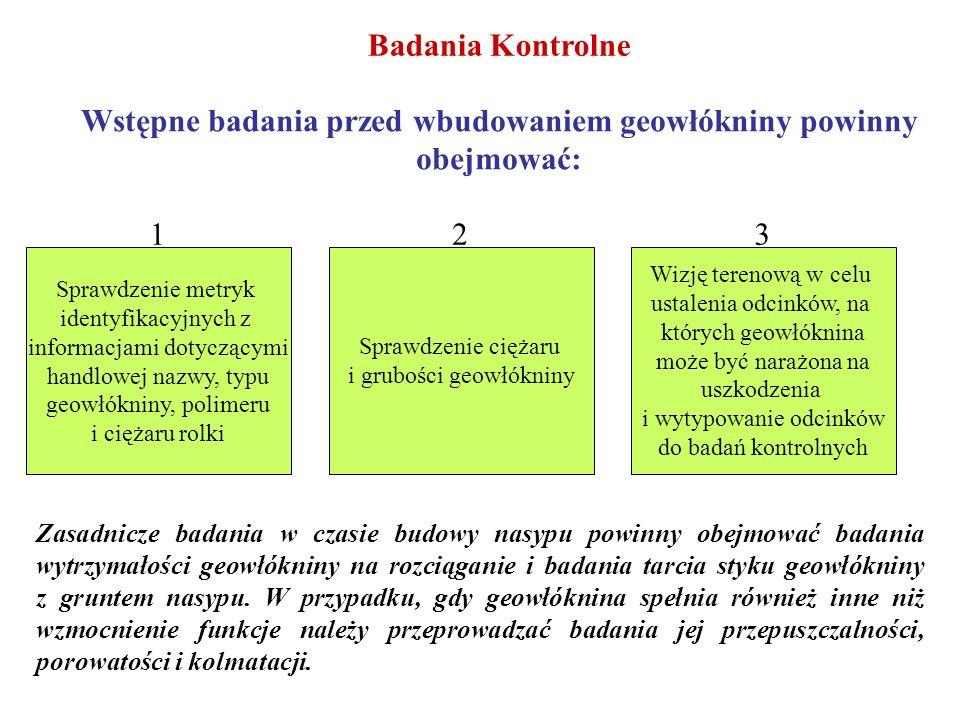 Badania Kontrolne Wstępne badania przed wbudowaniem geowłókniny powinny obejmować: Sprawdzenie metryk identyfikacyjnych z informacjami dotyczącymi han