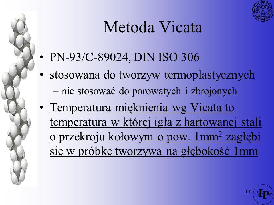 14 Metoda Vicata PN-93/C-89024, DIN ISO 306 stosowana do tworzyw termoplastycznych –nie stosować do porowatych i zbrojonych Temperatura mięknienia wg