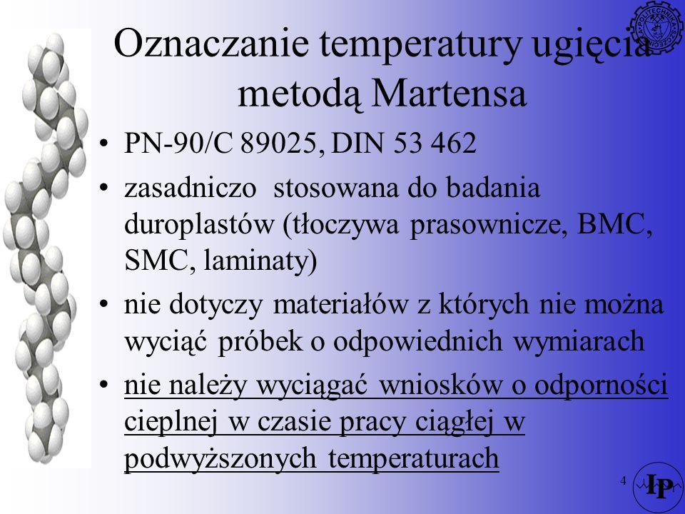 4 Oznaczanie temperatury ugięcia metodą Martensa PN-90/C 89025, DIN 53 462 zasadniczo stosowana do badania duroplastów (tłoczywa prasownicze, BMC, SMC