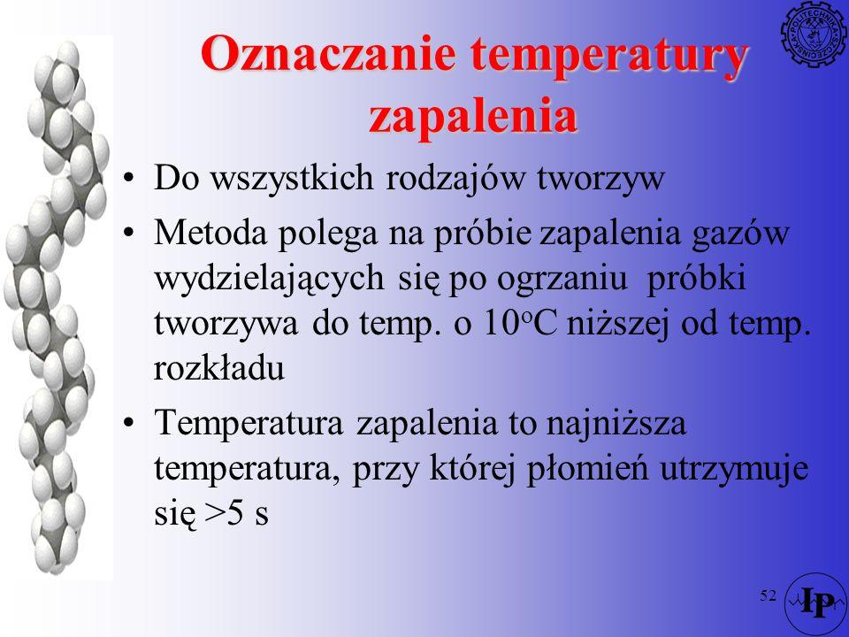 52 Oznaczanie temperatury zapalenia Do wszystkich rodzajów tworzyw Metoda polega na próbie zapalenia gazów wydzielających się po ogrzaniu próbki tworz