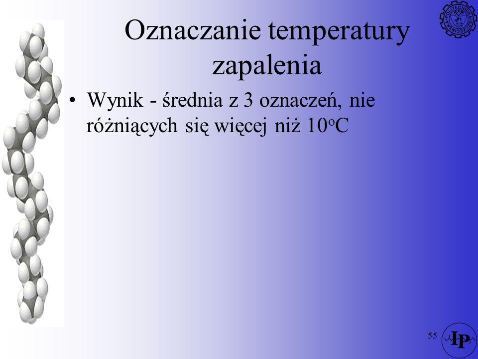 55 Oznaczanie temperatury zapalenia Wynik - średnia z 3 oznaczeń, nie różniących się więcej niż 10 o C