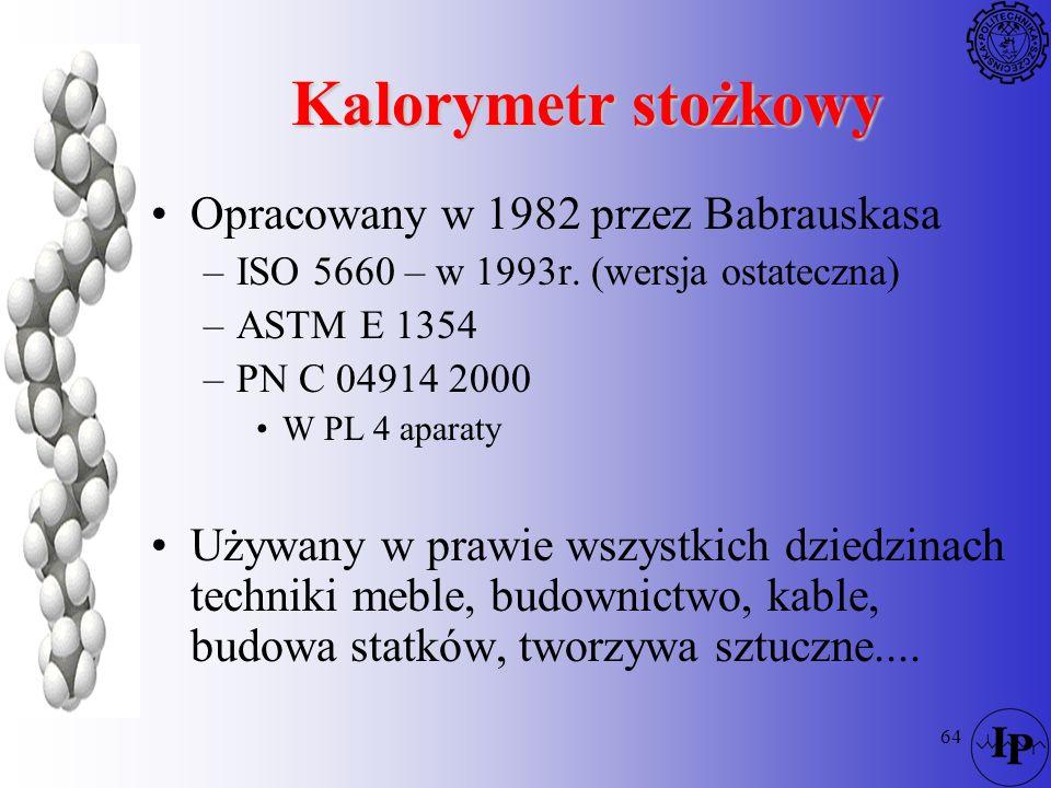 64 Kalorymetr stożkowy Opracowany w 1982 przez Babrauskasa –ISO 5660 – w 1993r. (wersja ostateczna) –ASTM E 1354 –PN C 04914 2000 W PL 4 aparaty Używa