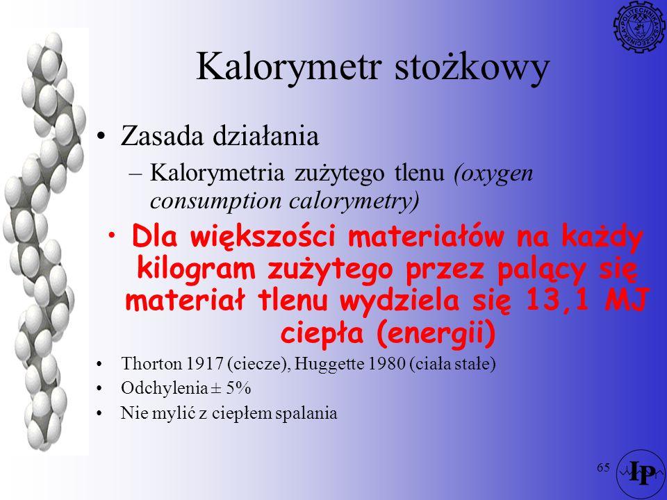 65 Kalorymetr stożkowy Zasada działania –Kalorymetria zużytego tlenu (oxygen consumption calorymetry) Dla większości materiałów na każdy kilogram zuży