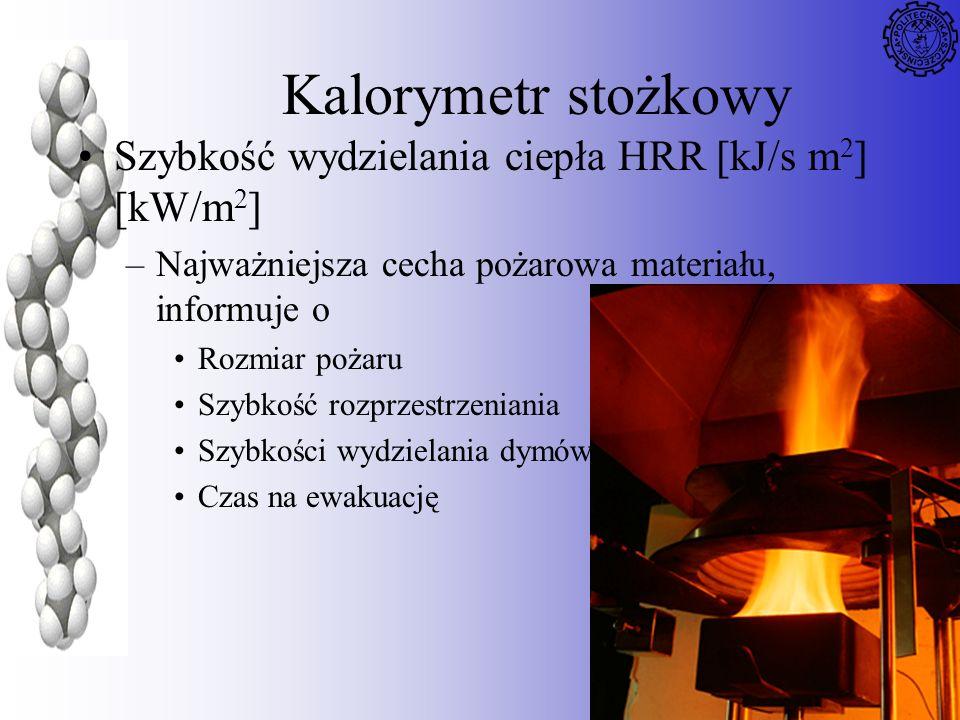 72 Kalorymetr stożkowy Szybkość wydzielania ciepła HRR [kJ/s m 2 ] [kW/m 2 ] –Najważniejsza cecha pożarowa materiału, informuje o Rozmiar pożaru Szybk