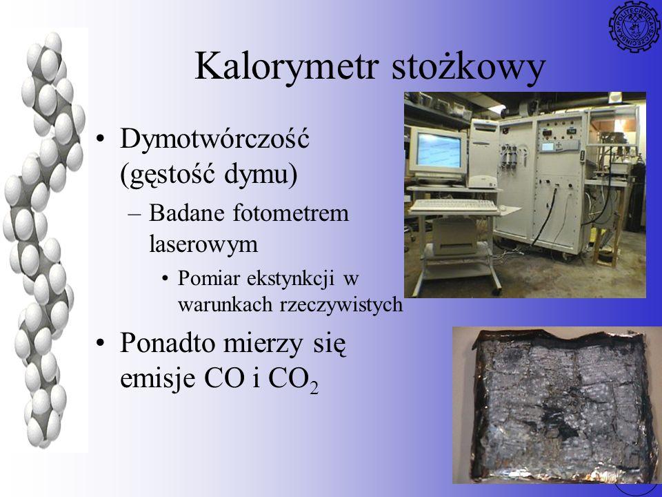 74 Kalorymetr stożkowy Dymotwórczość (gęstość dymu) –Badane fotometrem laserowym Pomiar ekstynkcji w warunkach rzeczywistych Ponadto mierzy się emisje