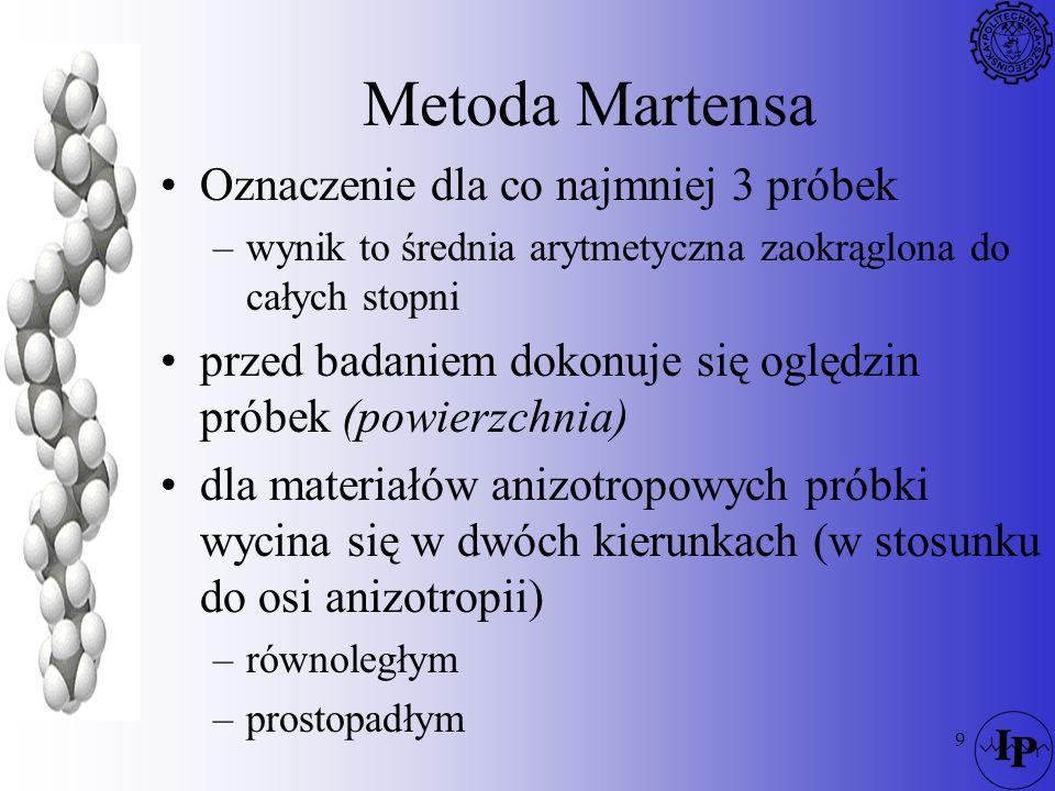 9 Metoda Martensa Oznaczenie dla co najmniej 3 próbek –wynik to średnia arytmetyczna zaokrąglona do całych stopni przed badaniem dokonuje się oględzin