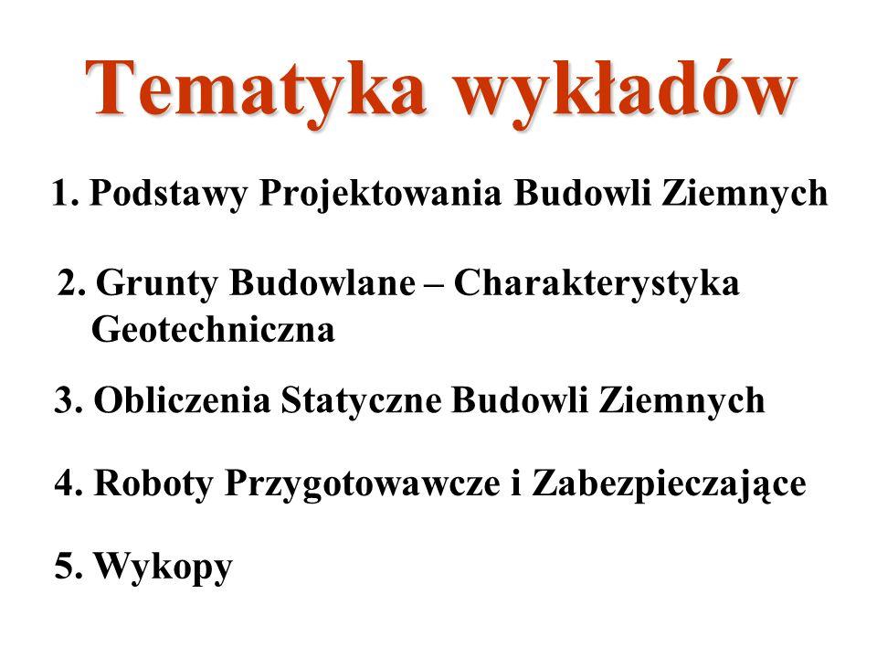 Tematyka wykładów 1.Podstawy Projektowania Budowli Ziemnych 2.