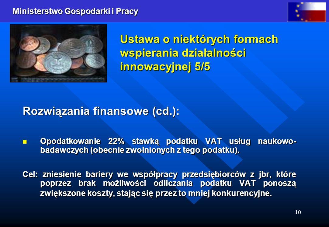 Ministerstwo Gospodarki i Pracy 10 Ustawa o niektórych formach wspierania działalności innowacyjnej 5/5 Rozwiązania finansowe (cd.): Opodatkowanie 22%