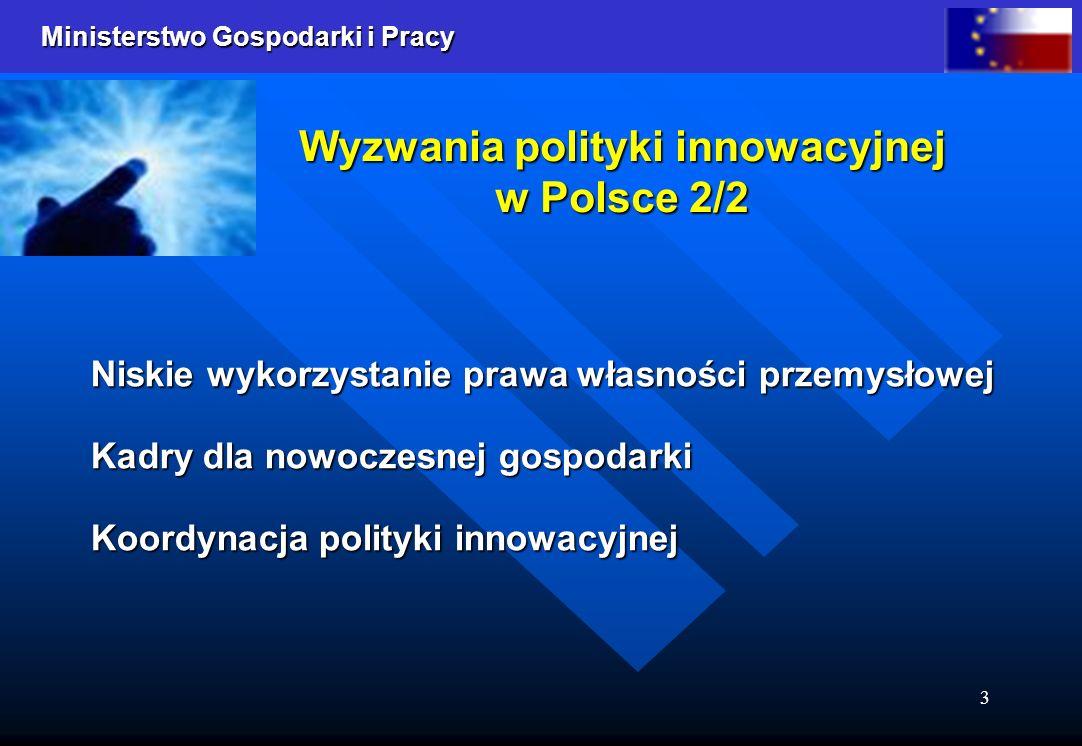 Ministerstwo Gospodarki i Pracy 4 Polityka innowacyjna państwa (MGiP) 1/2 Polityka innowacyjna państwa (MGiP) 1/2 Otoczenie prawne: Ustawa o niektórych formach wspierania działalności innowacyjnej Ustawa o niektórych formach wspierania działalności innowacyjnej Ustawa o Krajowym Funduszu Kapitałowym Ustawa o Krajowym Funduszu Kapitałowym Harmonizacja polskiego systemu ochrony własności przemysłowej z przepisami prawa obowiązującego w UE Harmonizacja polskiego systemu ochrony własności przemysłowej z przepisami prawa obowiązującego w UE Fundusze strukturalne: Wzrost Konkurencyjności Przedsiębiorstw Wzrost Konkurencyjności Przedsiębiorstw Rozwój Zasobów Ludzkich Rozwój Zasobów Ludzkich Rozwój Regionalny Rozwój Regionalny Inicjatywy proinnowacyjne: Program E4PQ Program E4PQ Ustanowienie fundacji Centrum Innowacji FIRE ułatwiającej osiąganie komercyjnego sukcesu projektom innowacyjnym Ustanowienie fundacji Centrum Innowacji FIRE ułatwiającej osiąganie komercyjnego sukcesu projektom innowacyjnym