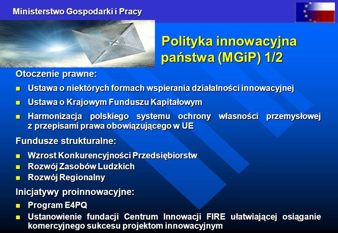 Ministerstwo Gospodarki i Pracy 4 Polityka innowacyjna państwa (MGiP) 1/2 Polityka innowacyjna państwa (MGiP) 1/2 Otoczenie prawne: Ustawa o niektóryc