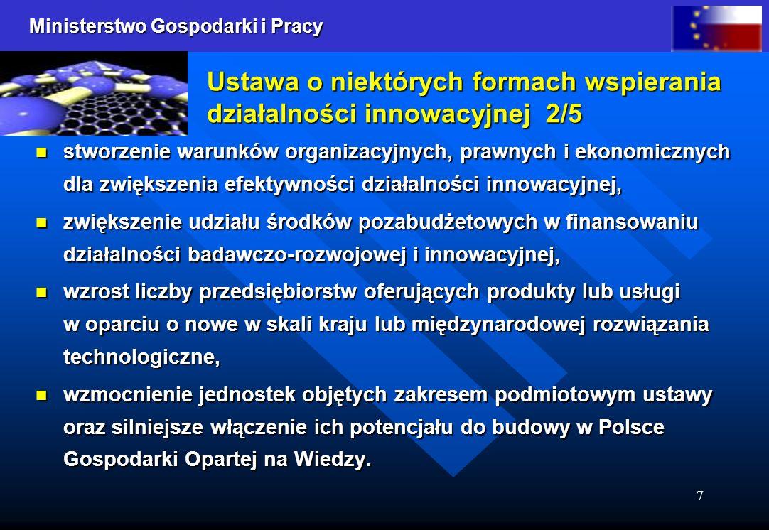 Ministerstwo Gospodarki i Pracy 7 Ustawa o niektórych formach wspierania działalności innowacyjnej 2/5 stworzenie warunków organizacyjnych, prawnych i