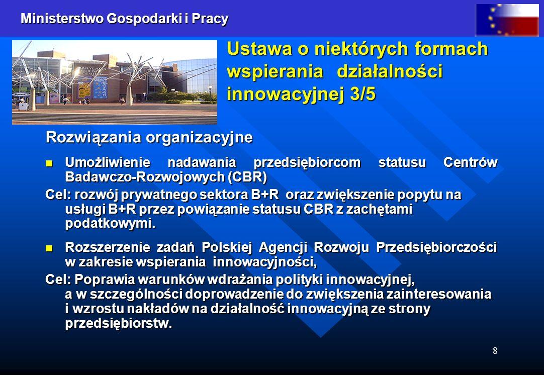 Ministerstwo Gospodarki i Pracy 8 Ustawa o niektórych formach wspierania działalności innowacyjnej 3/5 Rozwiązania organizacyjne Umożliwienie nadawani