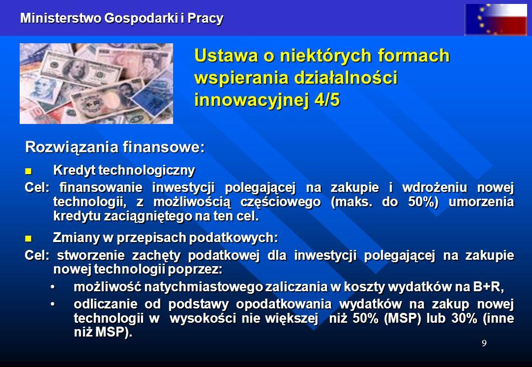 Ministerstwo Gospodarki i Pracy 9 Ustawa o niektórych formach wspierania działalności innowacyjnej 4/5 Rozwiązania finansowe: Kredyt technologiczny Kr