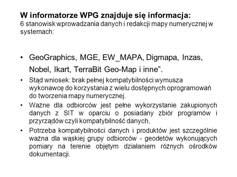W informatorze WPG znajduje się informacja: 6 stanowisk wprowadzania danych i redakcji mapy numerycznej w systemach: GeoGraphics, MGE, EW_MAPA, Digmap