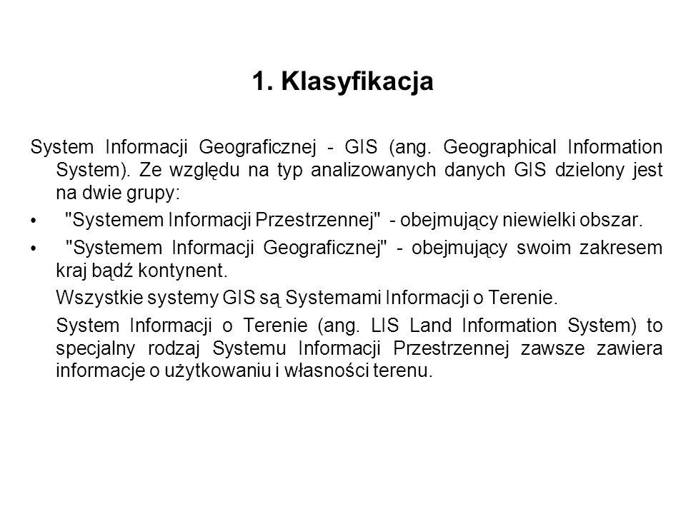 1. Klasyfikacja System Informacji Geograficznej - GIS (ang. Geographical Information System). Ze względu na typ analizowanych danych GIS dzielony jest