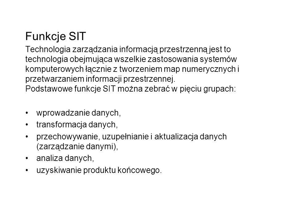 Funkcje SIT Technologia zarządzania informacją przestrzenną jest to technologia obejmująca wszelkie zastosowania systemów komputerowych łącznie z twor