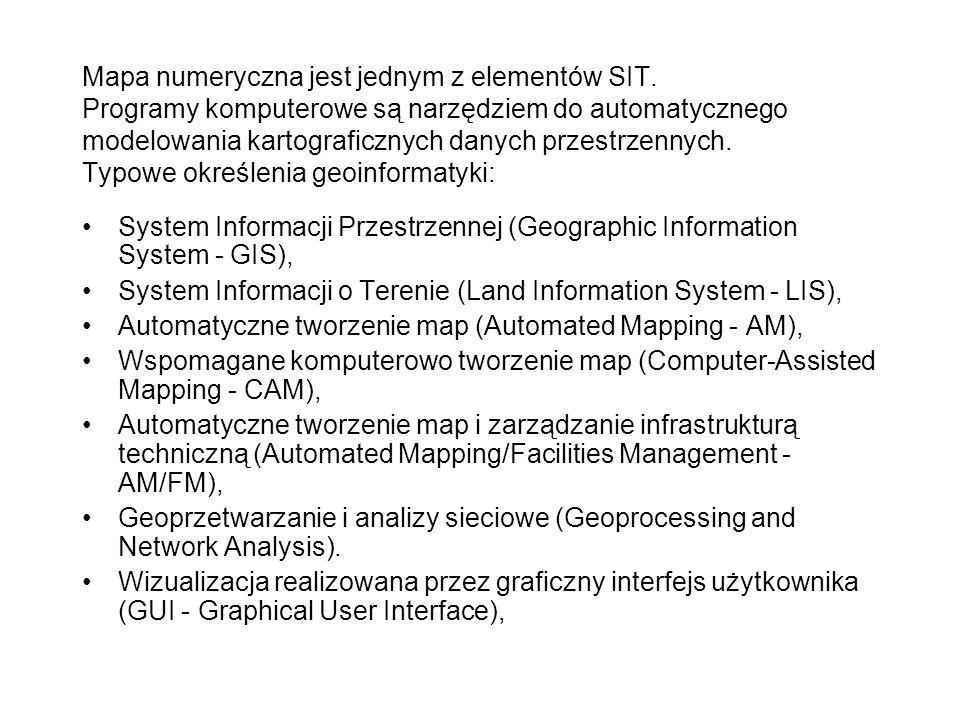 Mapa numeryczna jest jednym z elementów SIT. Programy komputerowe są narzędziem do automatycznego modelowania kartograficznych danych przestrzennych.