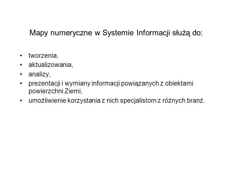 Mapy numeryczne w Systemie Informacji służą do: tworzenia, aktualizowania, analizy, prezentacji i wymiany informacji powiązanych z obiektami powierzch