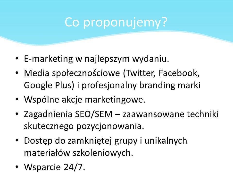 Co proponujemy? E-marketing w najlepszym wydaniu. Media społecznościowe (Twitter, Facebook, Google Plus) i profesjonalny branding marki Wspólne akcje